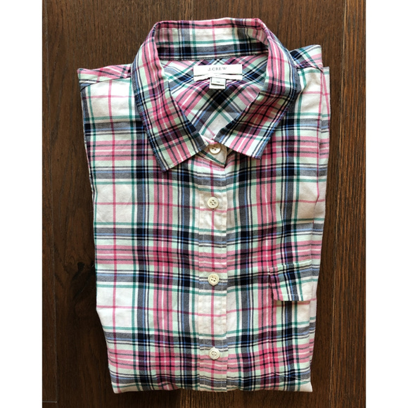 J. Crew Tops - J.Crew Boy Plaid Button Down Shirt. sz 10